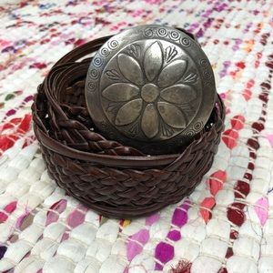 NY& Co Brown Leather Woven Belt Floral Buckle